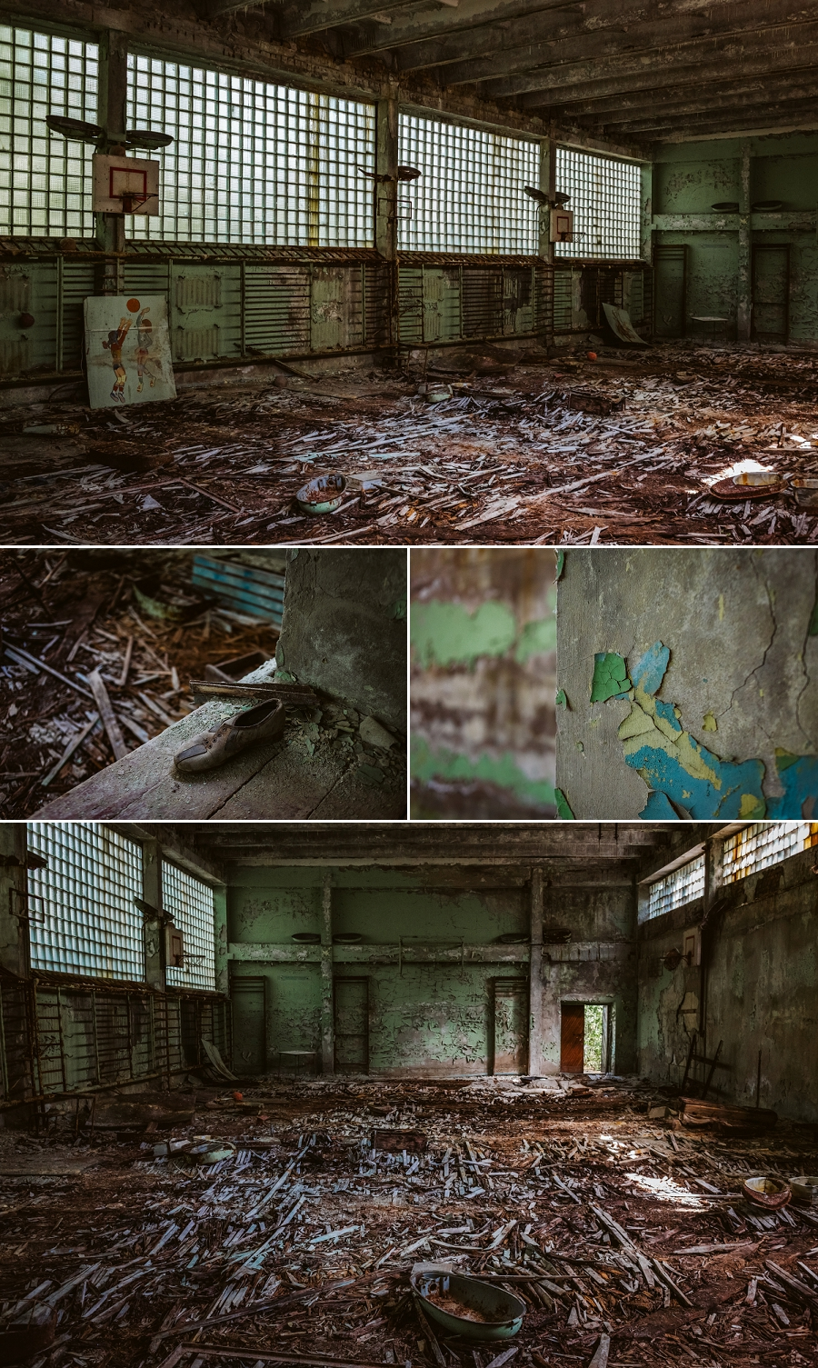 abandoned high school gymnasium in pripyat