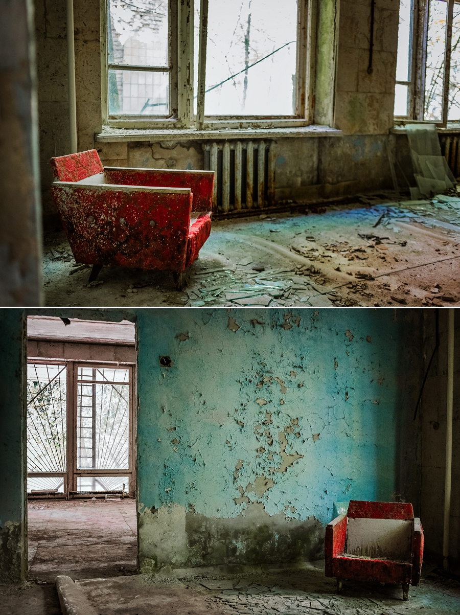 red chair in blue room in chernobyl