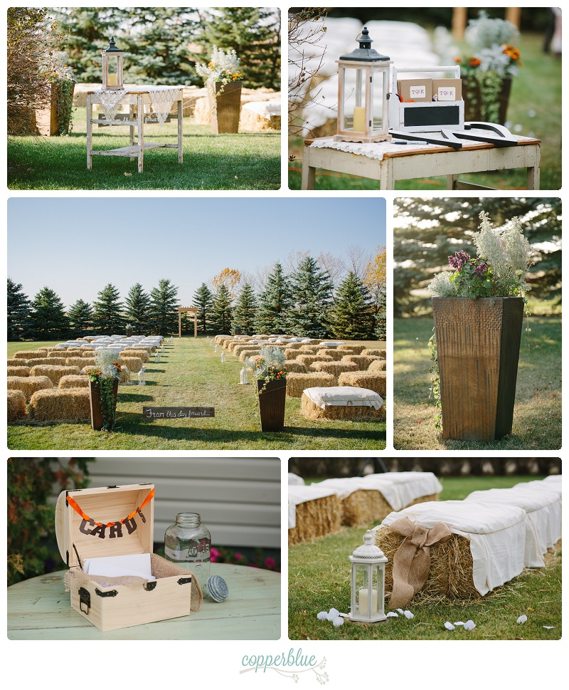 Rustic backyard wedding decor