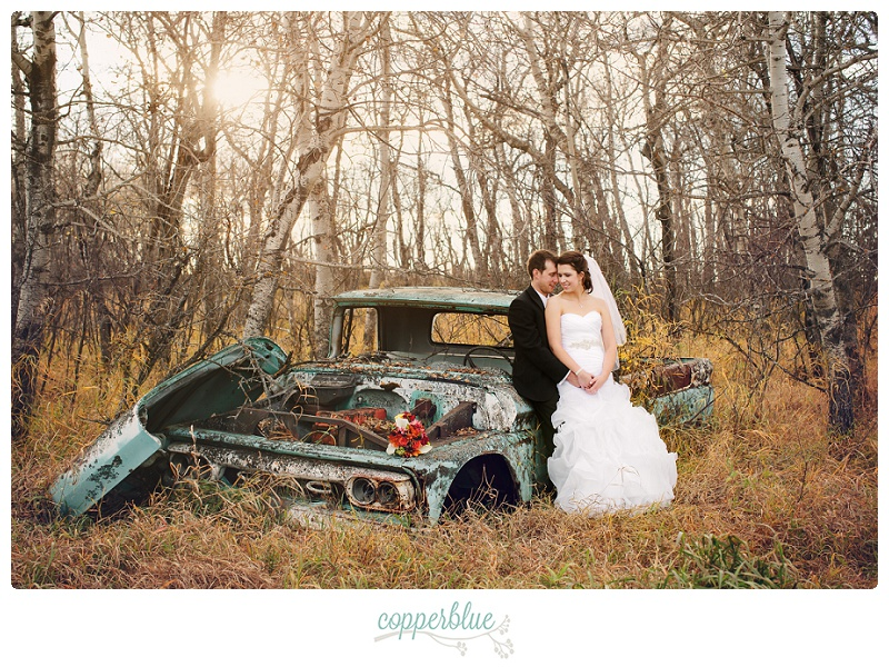 Abandoned truck bride groom