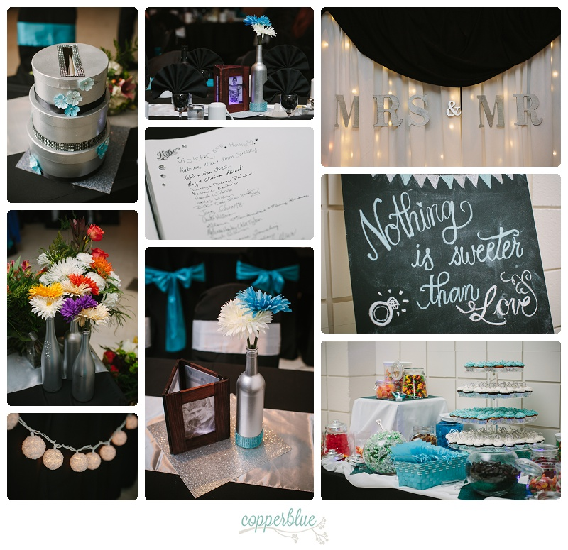 Turquoise black silver wedding