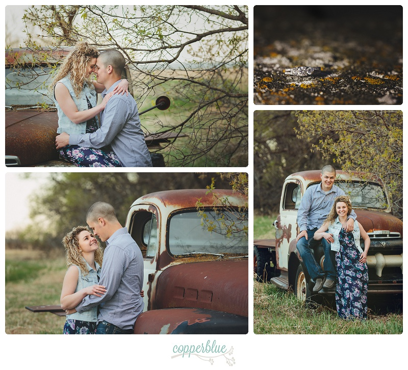 Engagement photos with old truck
