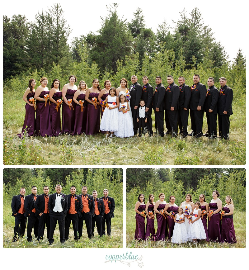 Wedding party photos in a forest