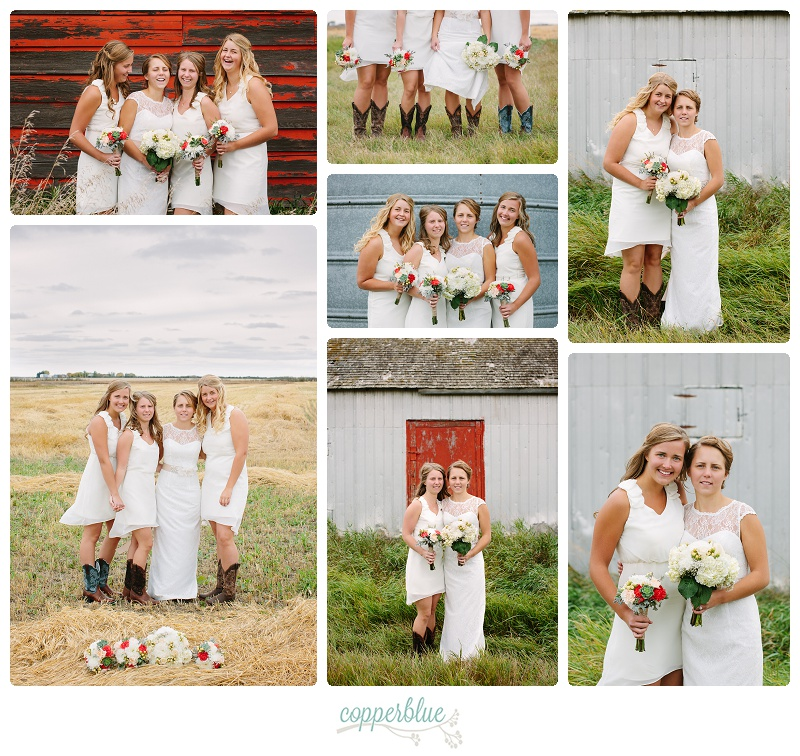 Farmyard bridesmaids