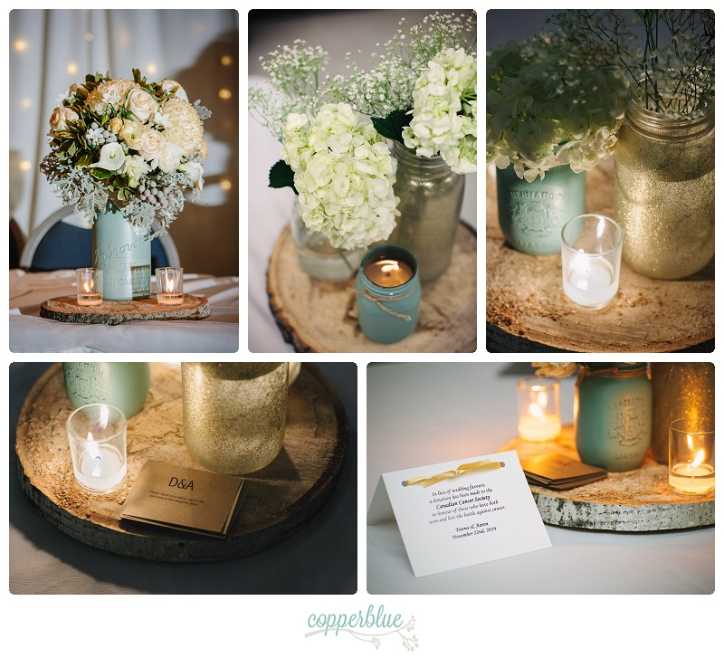 Green and gold wedding decor
