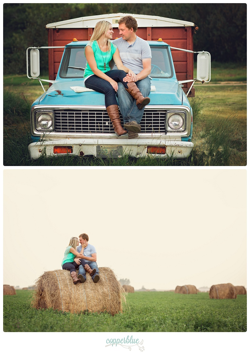 Engagement photos grain truck