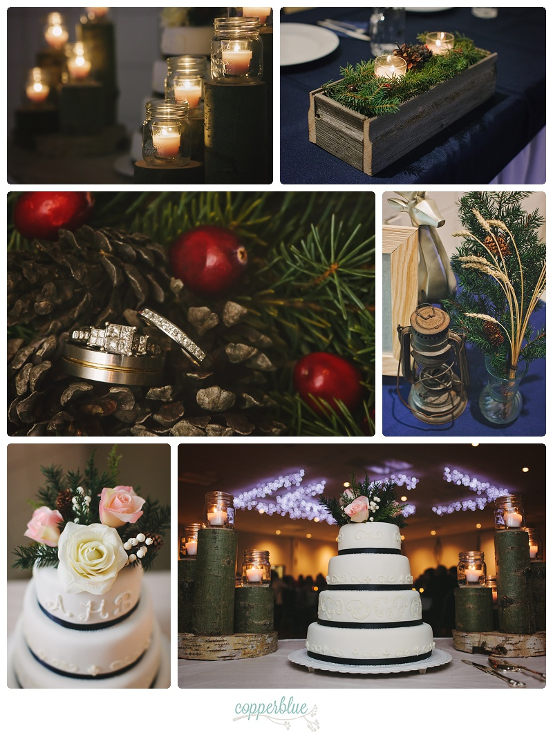 Rustic winter wedding decor spruce and cranberries