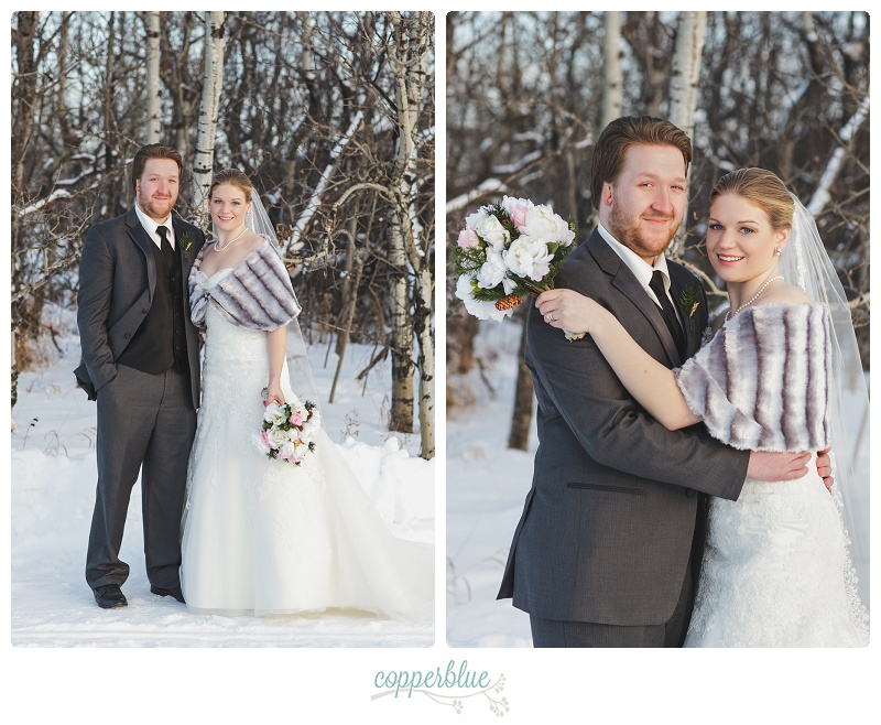 Winter farm wedding bride and groom