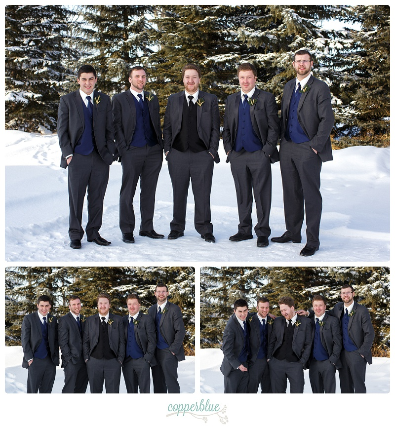 Winter farm wedding groomsmen