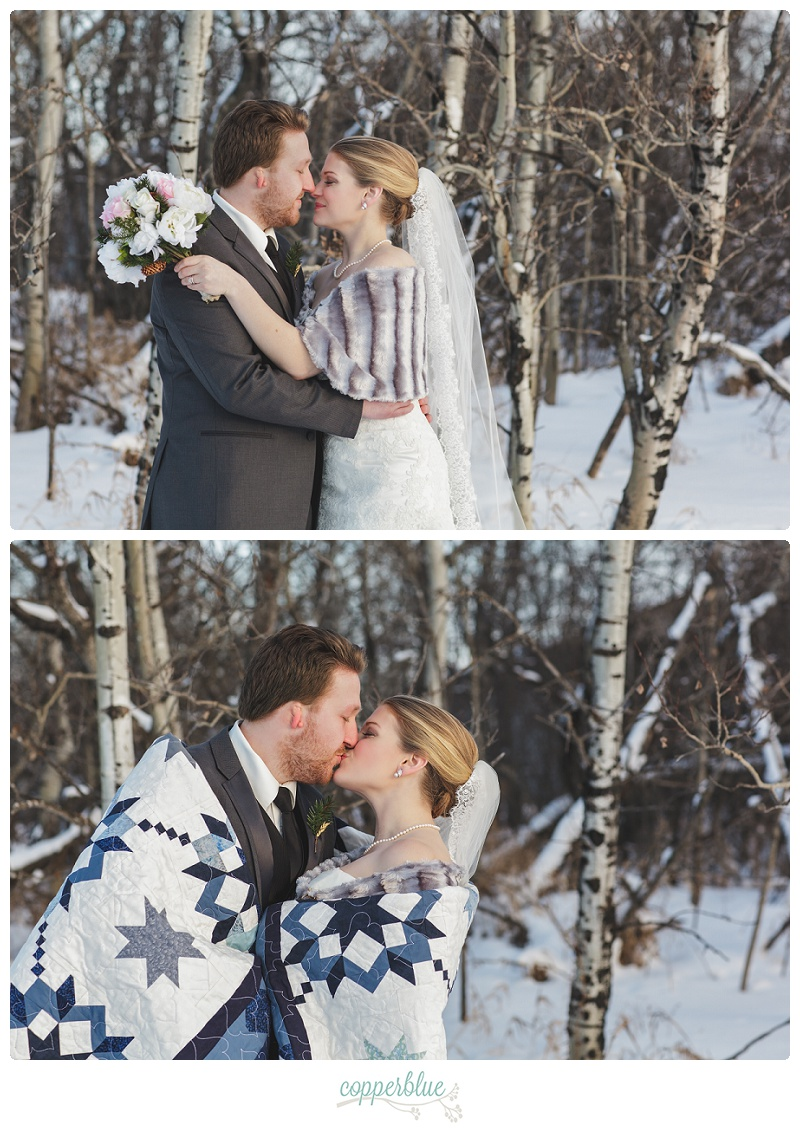Winter wedding bride and groom