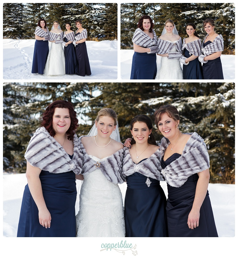 Winter farm wedding bridesmaids