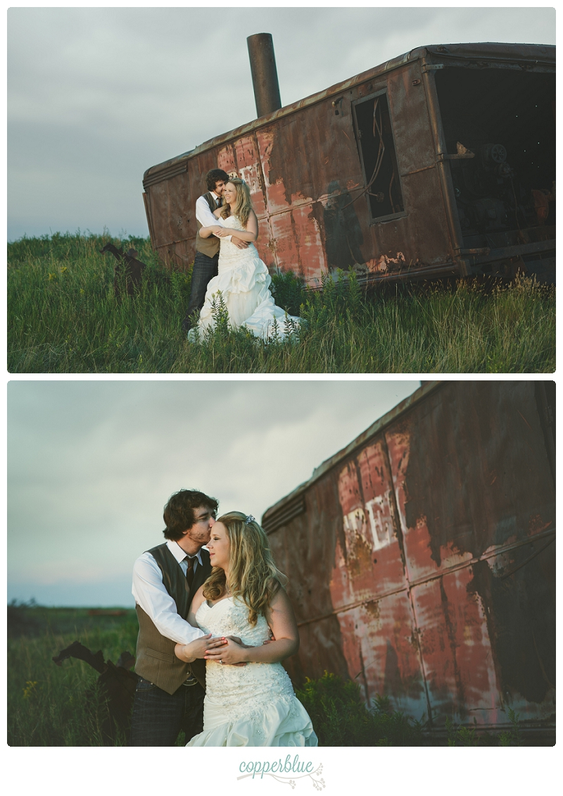 Abandoned train with bride and groom