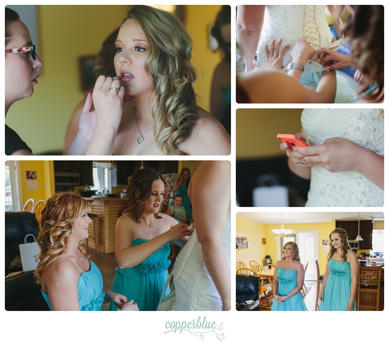 Saskatoon bride getting dressed