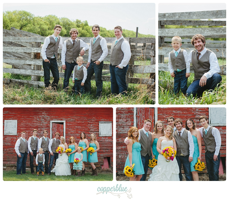 Wedding party barn groomsmen