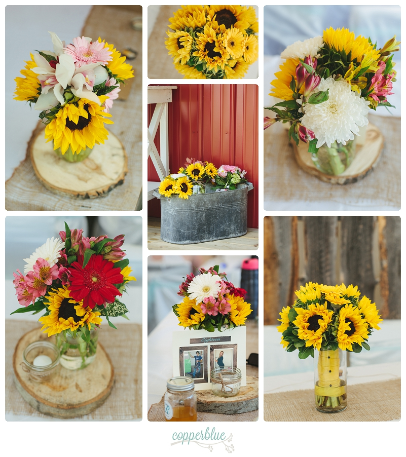Brunch wedding sunflowers burlap