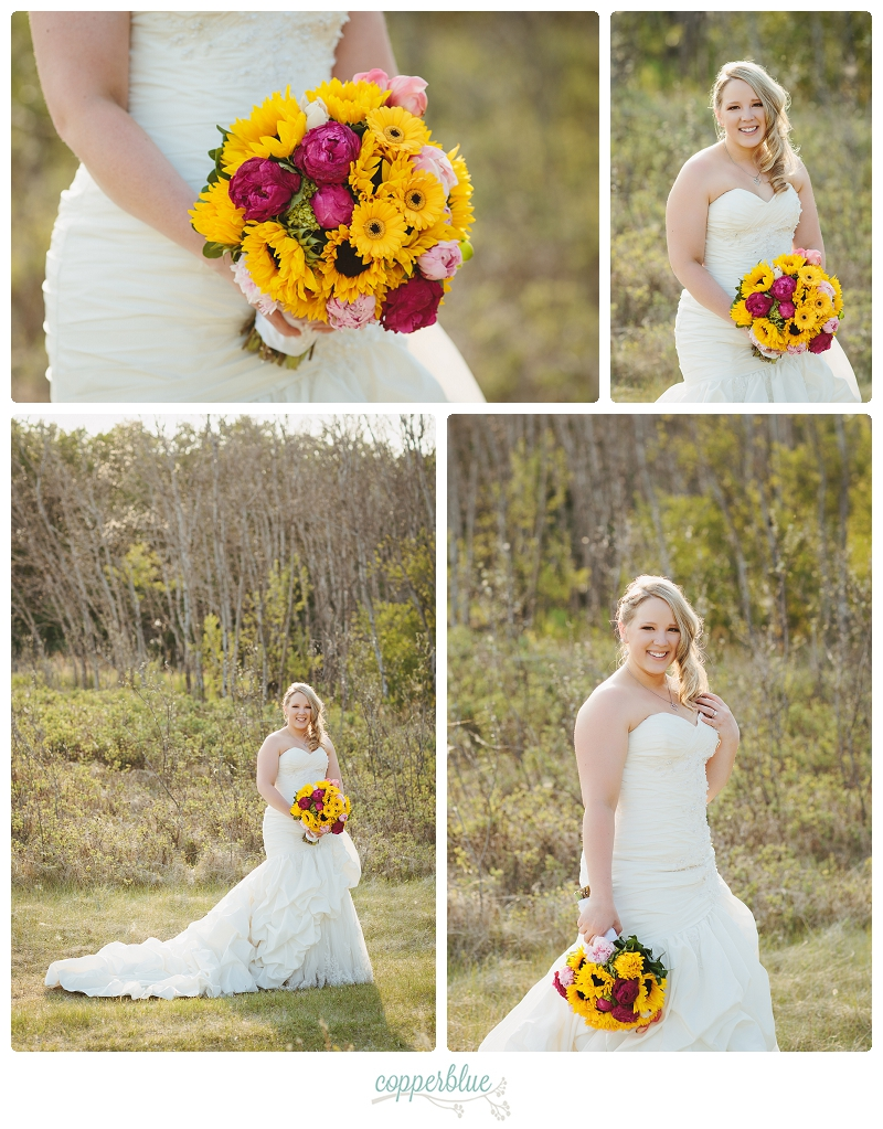 Bride with sunflowers peonies