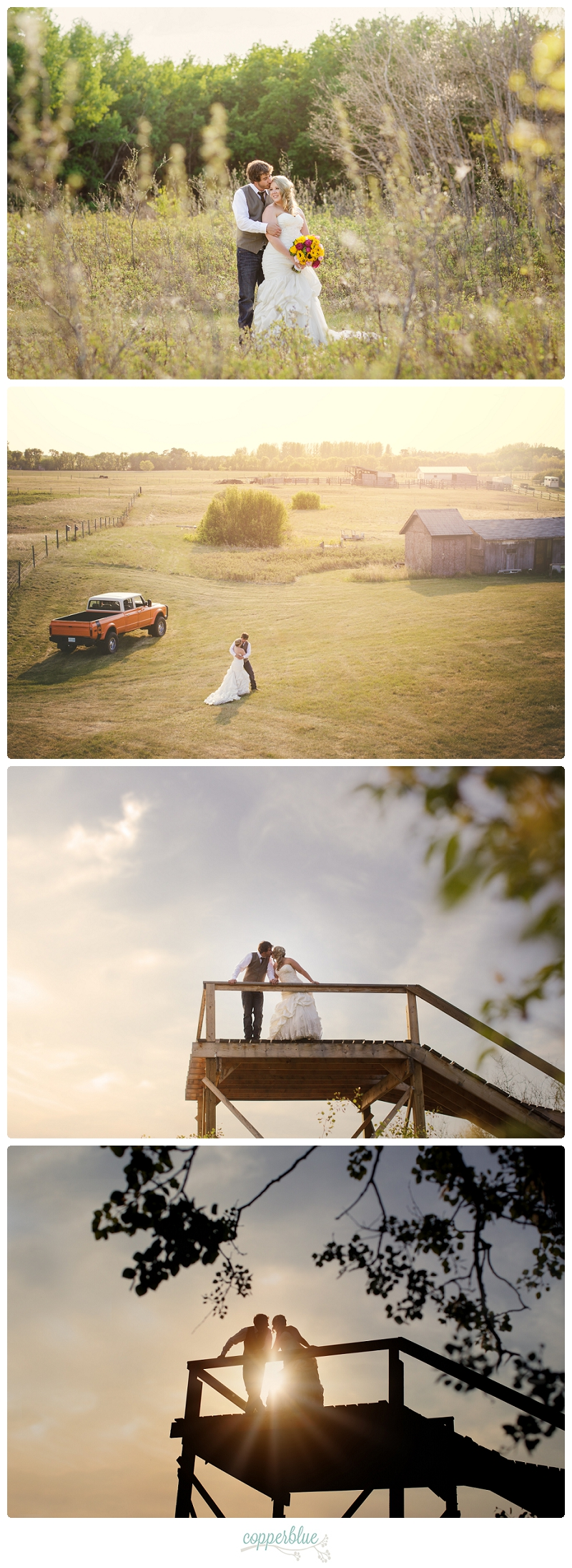 Sunset farm wedding