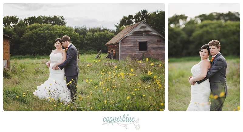 Bride and groom at abandoned farm