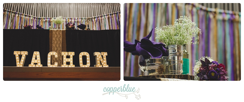 Ribbon backdrop and name in lights