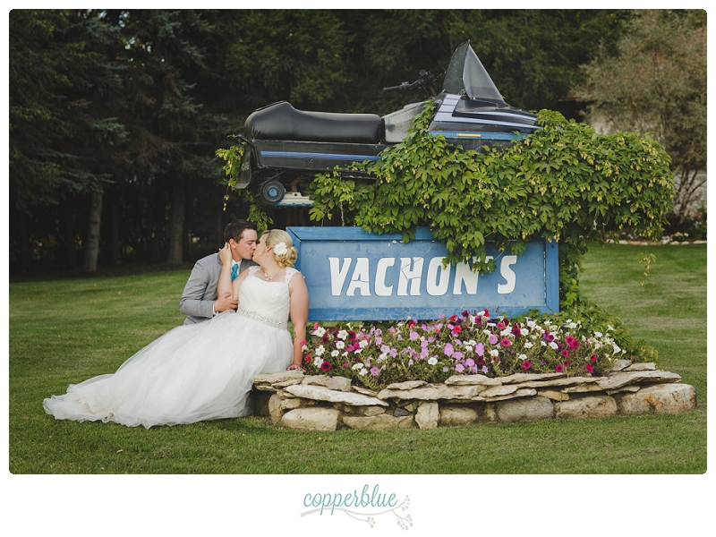 Bride and groom with skidoo