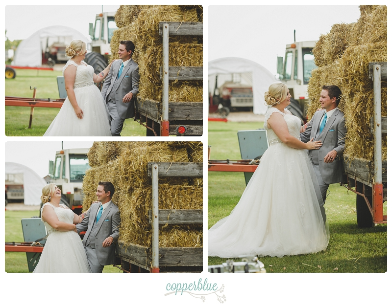Farm wedding with bales