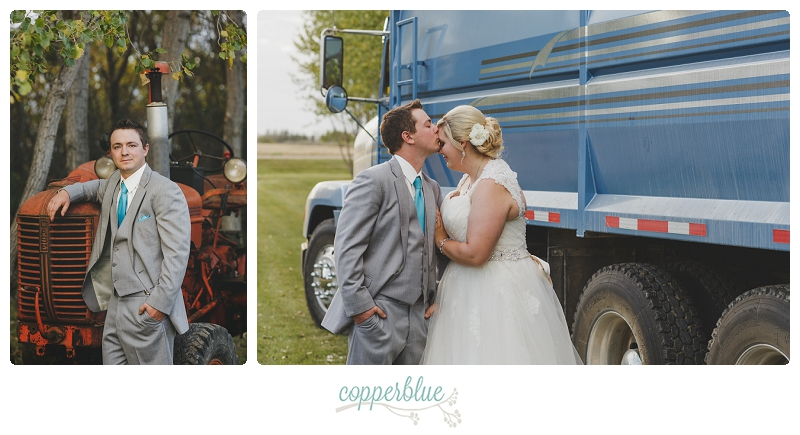 Wedding with grain truck