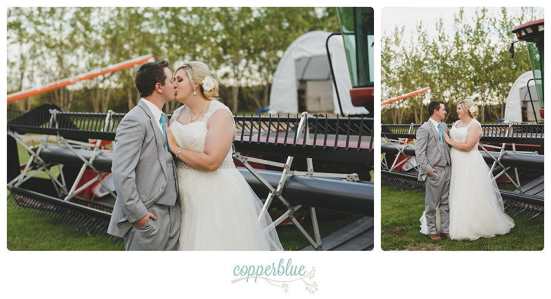 Wedding with farm machinery