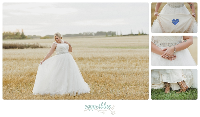Bride in field of wheat