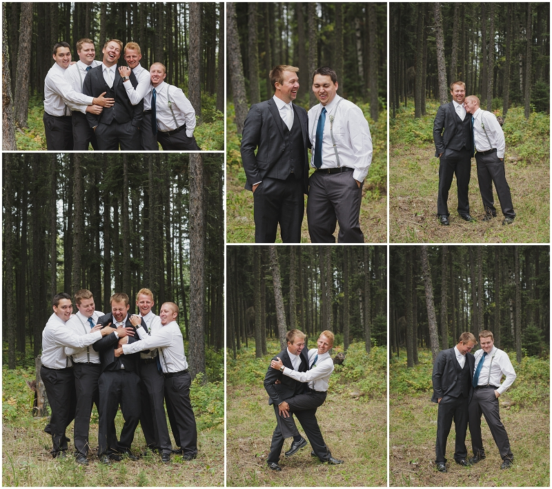 groomsmen in forest