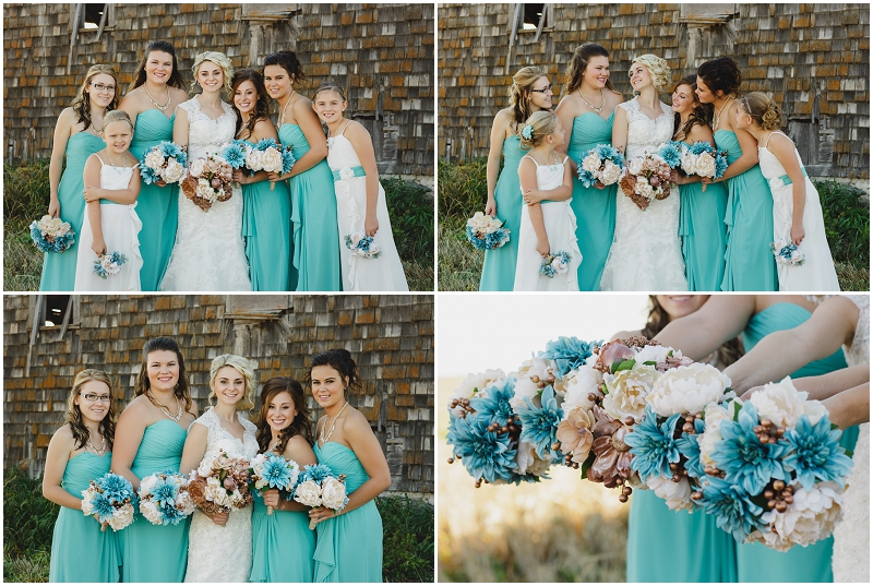 teal bouquets