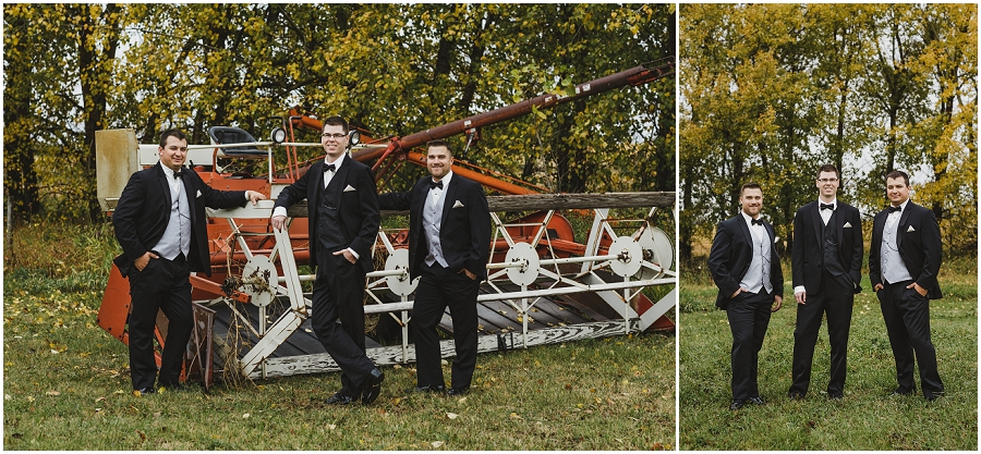 groomsmen at farm wedding