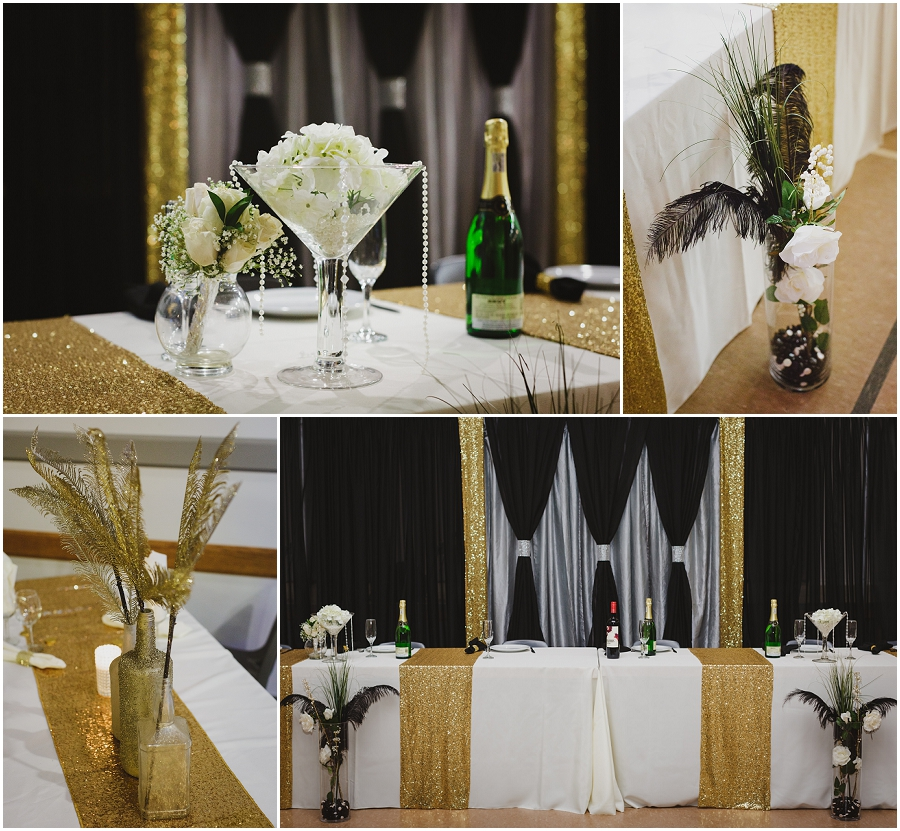 gold sequins wedding reception decor