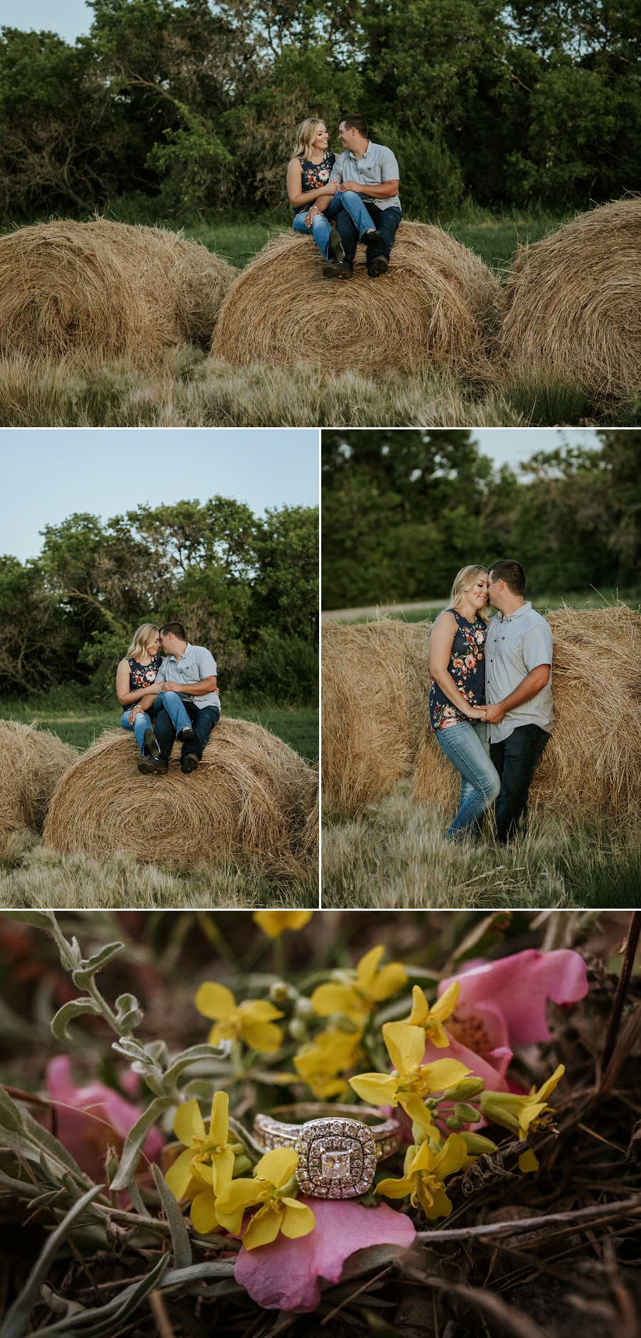 engagement photos with haybales