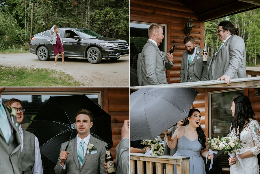 rainy wedding in waskesiu