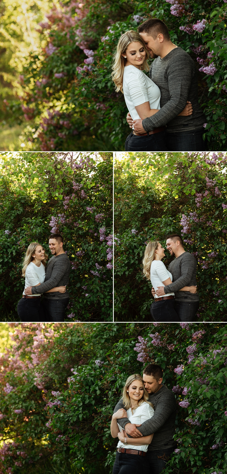 engagement pictures in saskatoon with lilacs