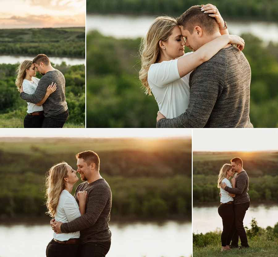 engagement photos near the south saskatchewan river at sunset