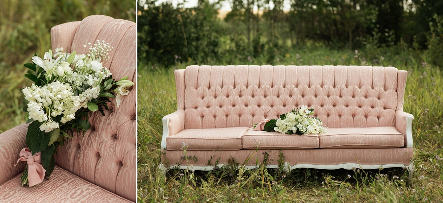 wedding vintage couch from buttercream rentals