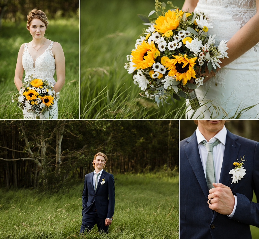 bouquet and boutonniere with sunflowers