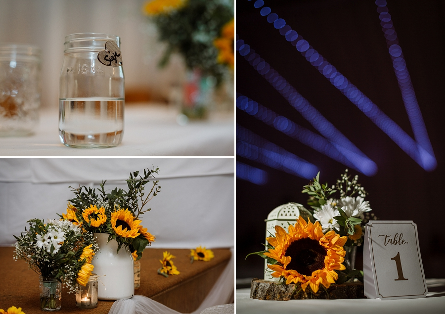 rustic wedding details at saskatchewan wedding with sunflowers