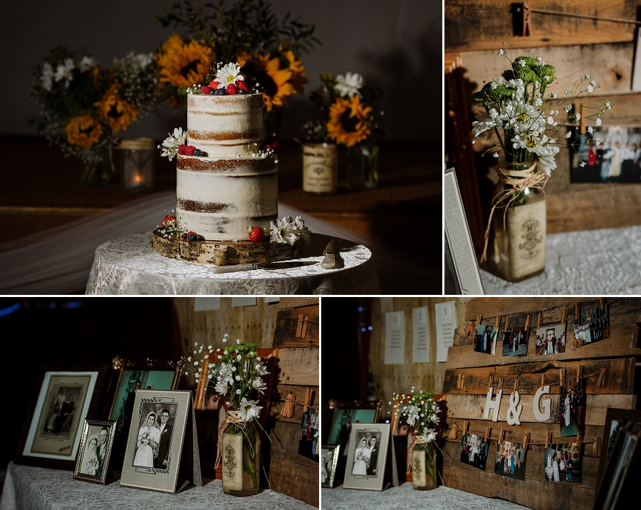 naked cake and rustic seating chart