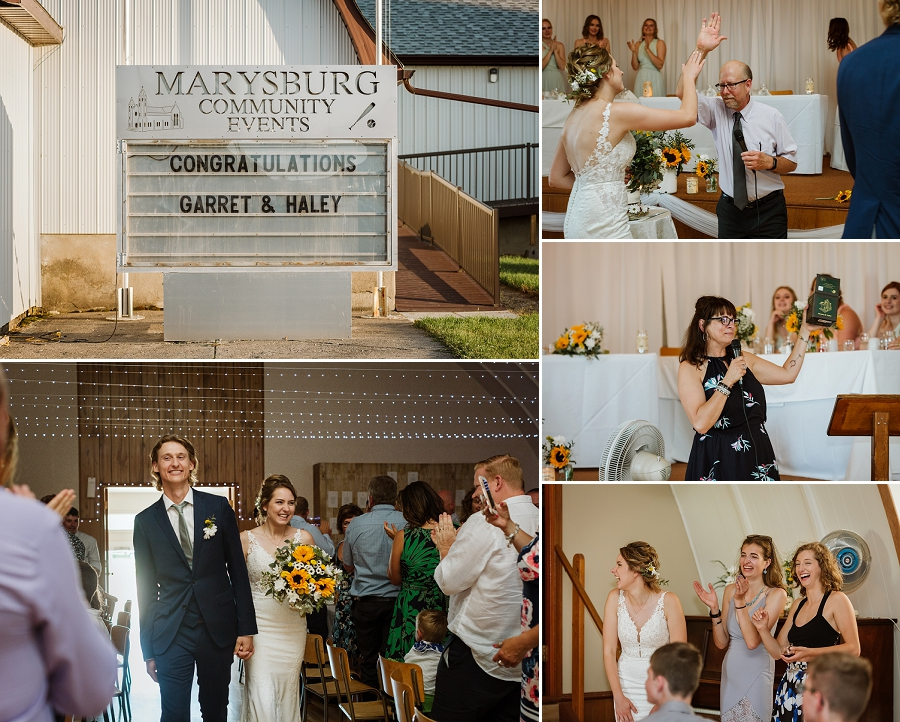 wedding reception at marysburg community hall