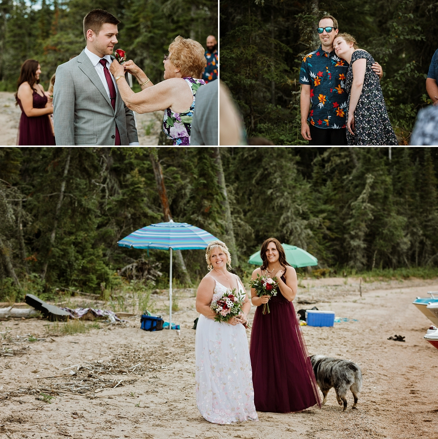 intimate wedding on the beach in waskesiu