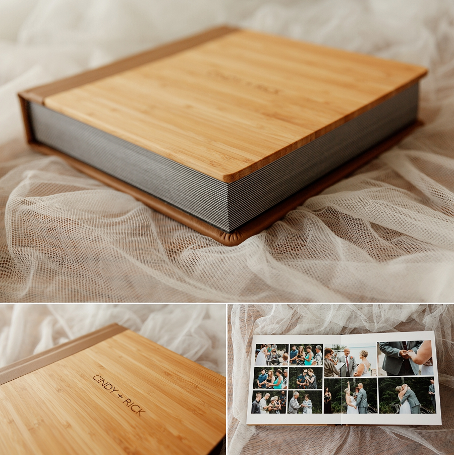 heirloom wedding album with bamboo and leather cover
