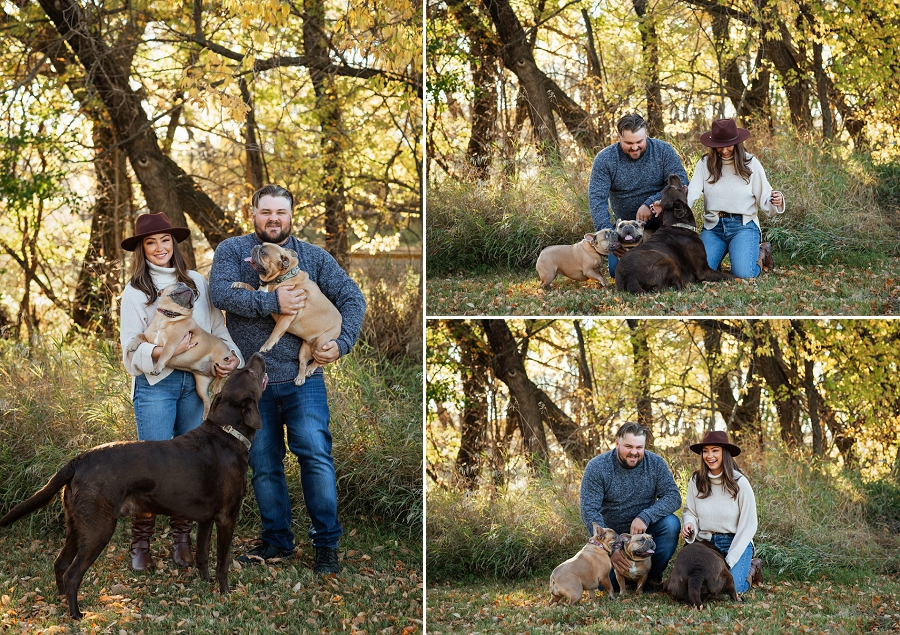 prince albert engagement photos with dogs