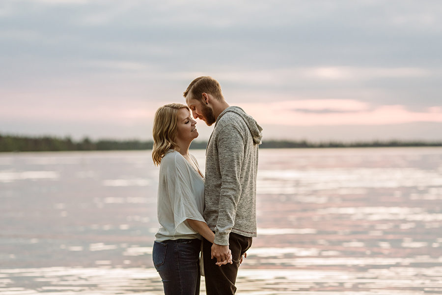 candle lake engagement session at the beach