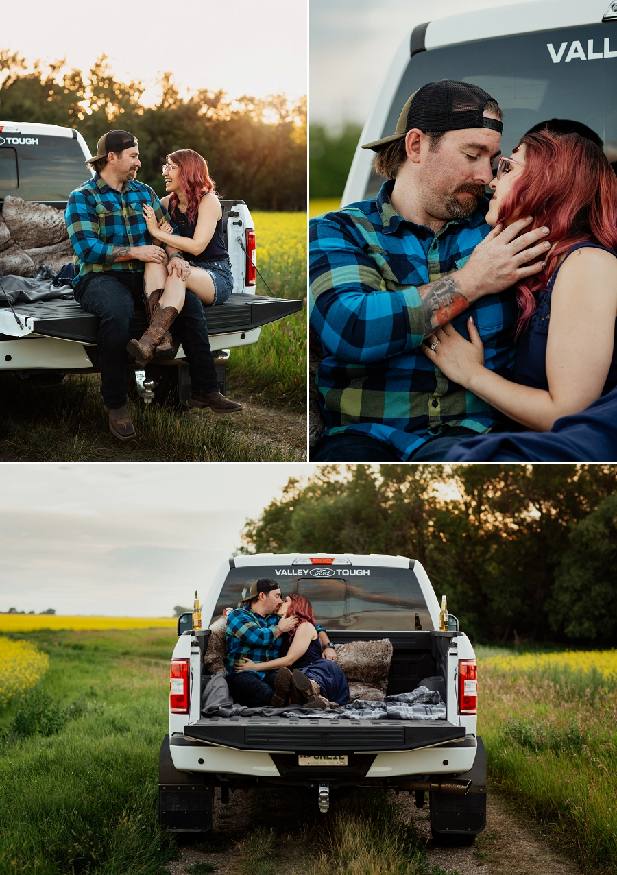 saskatoon engagement portraits with truck