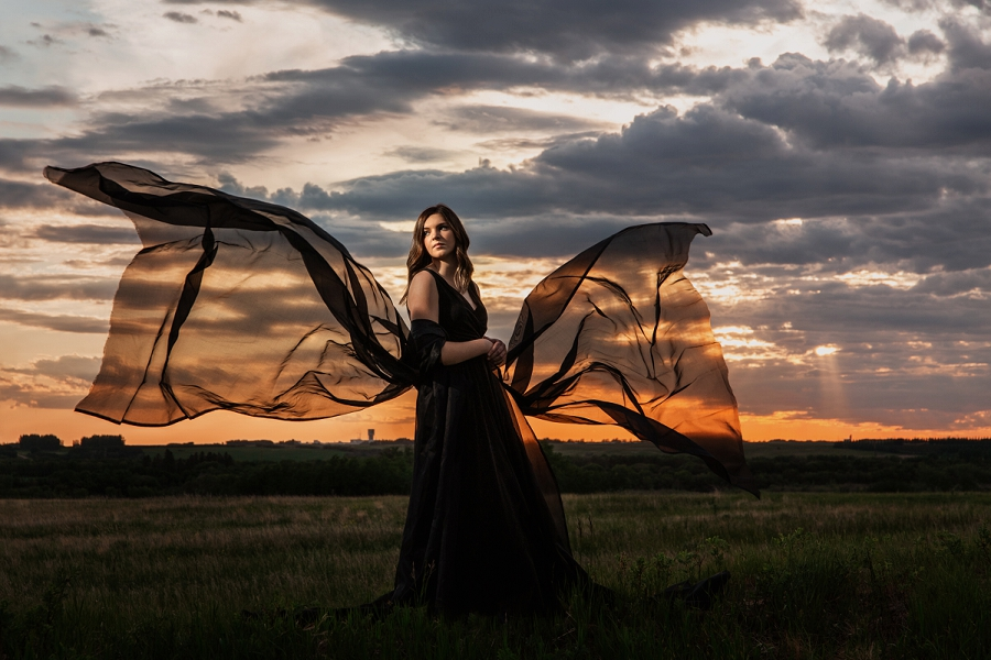 fashion inspired saskatoon grad photos at sunset