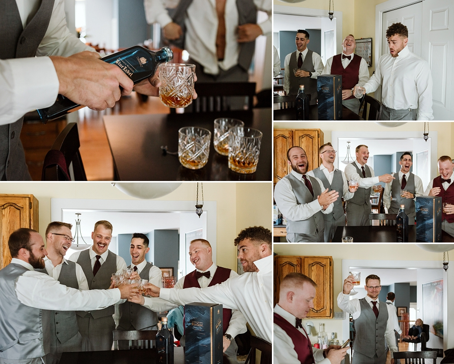 saskatoon groomsmen drinking scotch