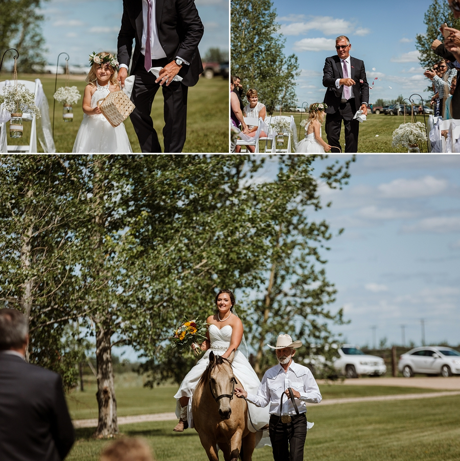 bride arriving at ceremony on horseback
