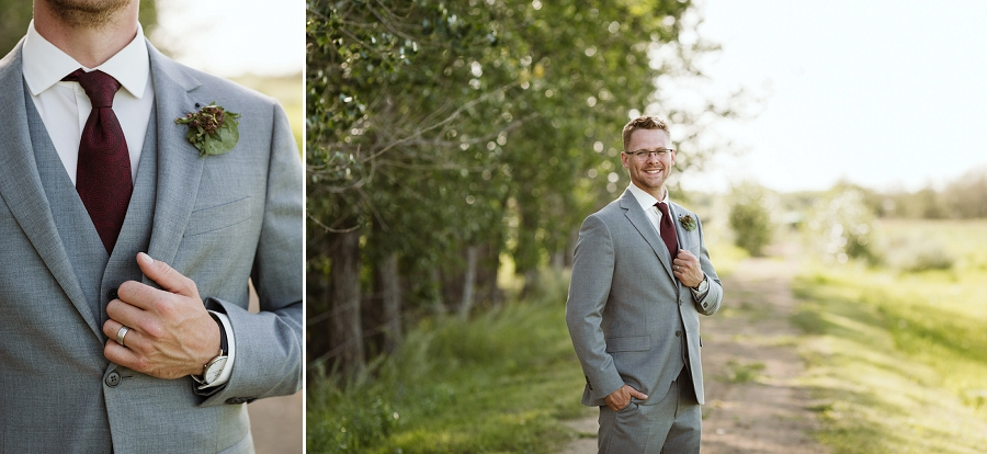 groom in gray suit and burgundy tie